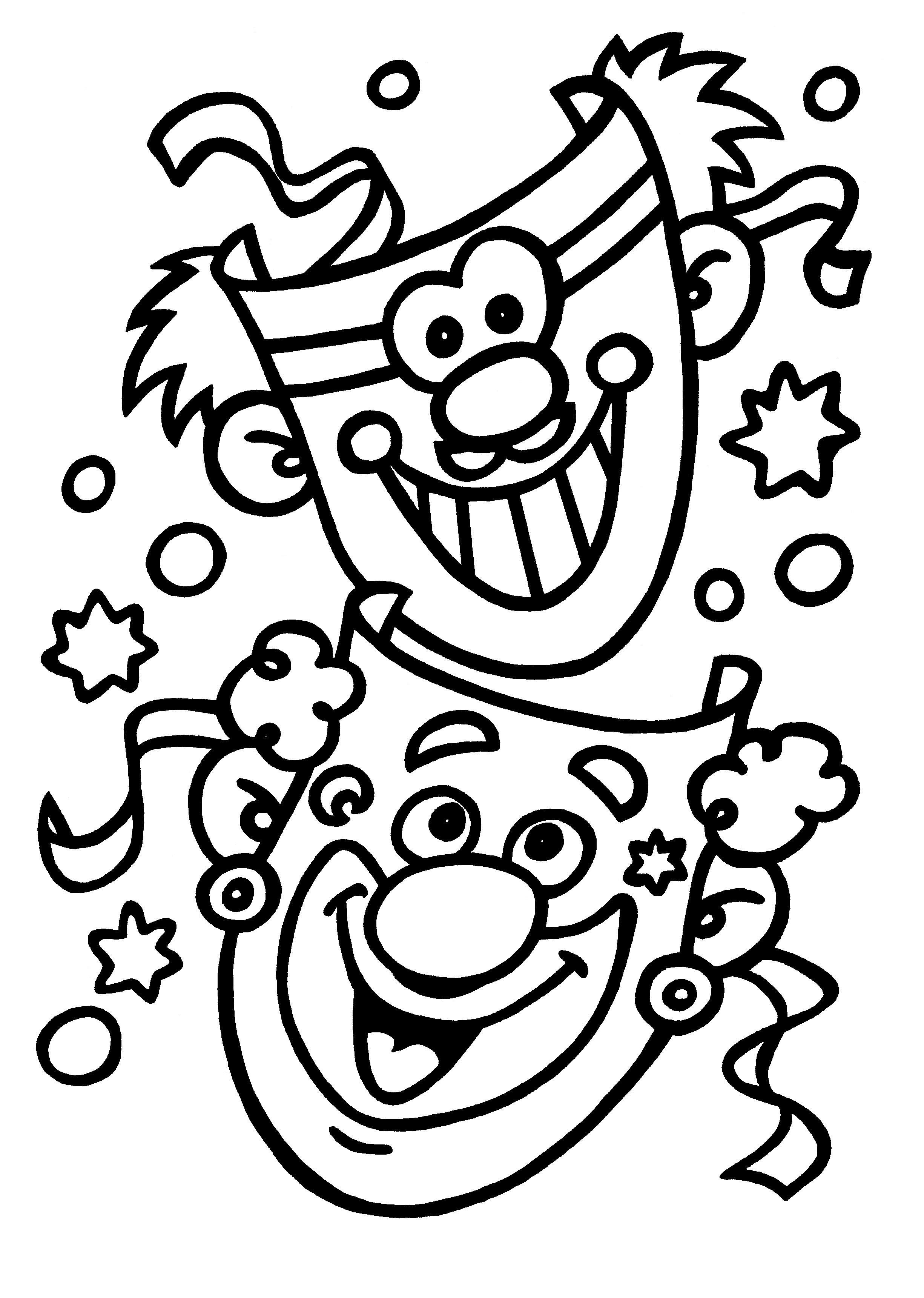 Kleurplaten Vlinder Hoedje.Kleurplaten Thema Carnaval Kleurplaten Creatief Met Kinderen